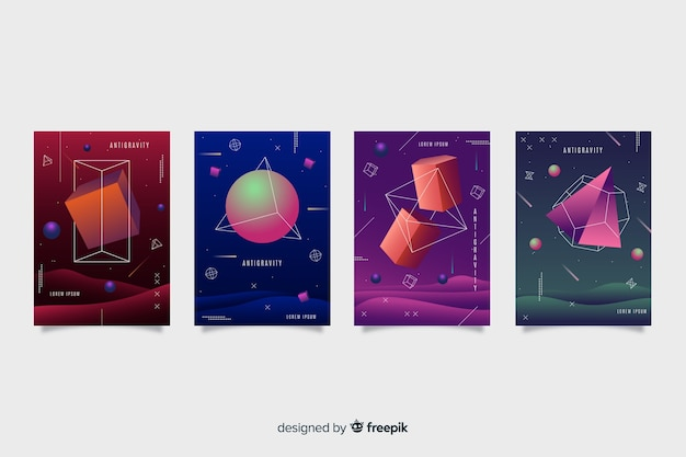 Collezione di forme geometriche antigravità