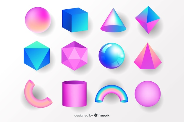 Collezione di forme geometriche tridimensionali
