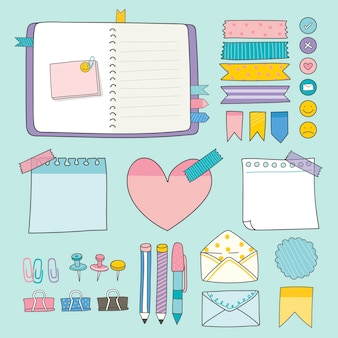 Collezione di forniture colorate di articoli di cancelleria