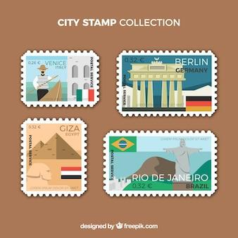 Collezione di francobolli colorati della città