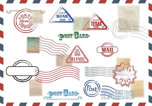Collezione di francobolli colorati grungy con testo