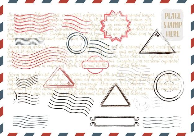 Collezione di francobolli colorati grungy