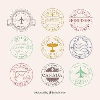 Collezione di francobolli della città in stile retrò