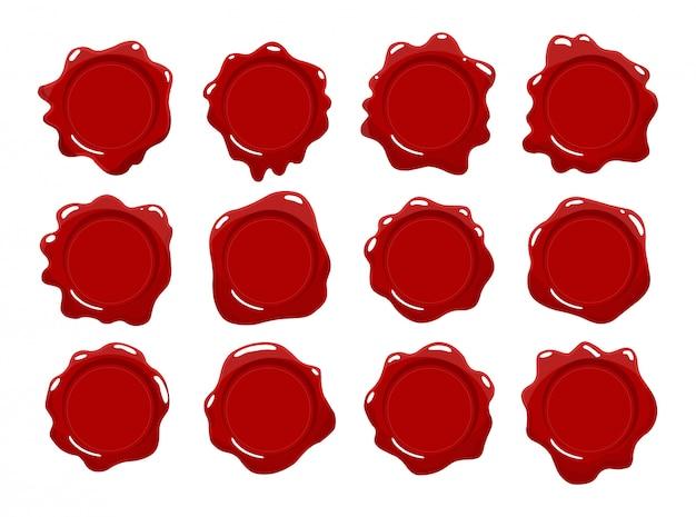 Collezione di francobolli di cera. set di sigillo di cera rossa. elementi di design isolato. protezione e certificazione, garanzia e marchi di qualità