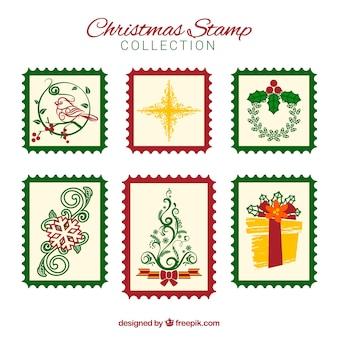 Collezione di francobolli di natale con cornici rosse e verdi