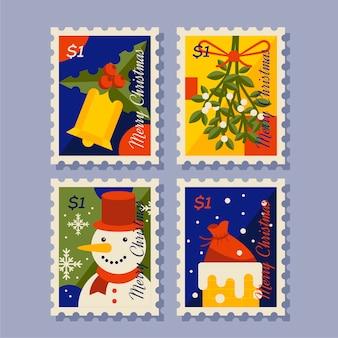 Collezione di francobolli di natale design piatto