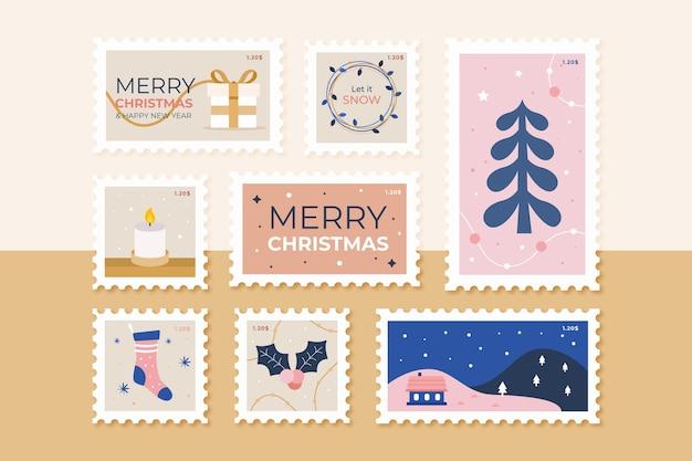 Collezione di francobolli di natale in design piatto