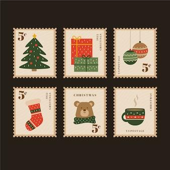 Collezione di francobolli di natale vintage