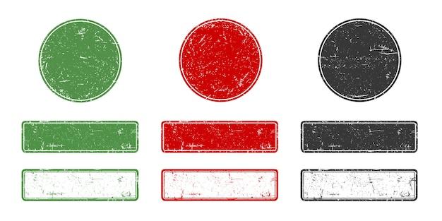 Collezione di francobolli grange in stile retrò. cornici vuote rotonde e rettangolari in gomma per qualsiasi logo o testo.