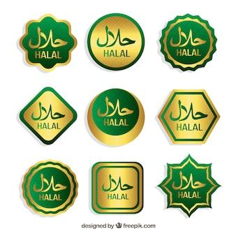 Collezione di francobolli halal con design piatto