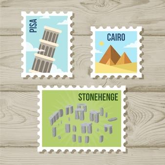 Collezione di francobolli landmark con città e monumenti