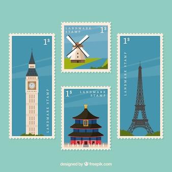 Collezione di francobolli landmark con luoghi diversi