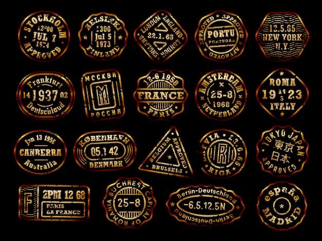 Collezione di francobolli postali d'oro con effetto invecchiamento, francobolli di destinazione, set di badge paese, emblemi di inchiostro oro su sfondo nero.