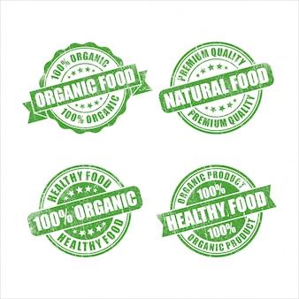 Collezione di francobolli verdi di alimenti biologici