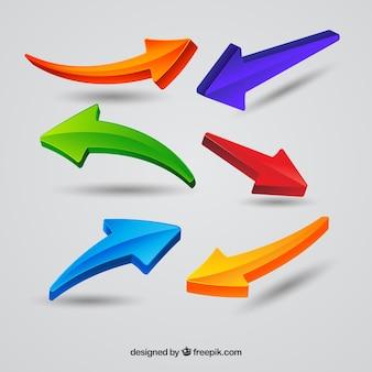 Collezione di frecce colorate con uno stile moderno