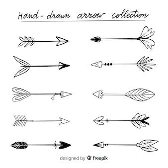 Collezione di frecce disegnate a mano originale
