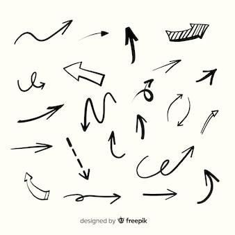 Collezione di frecce disegnate a mano