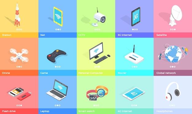 Collezione di gadget elettronici