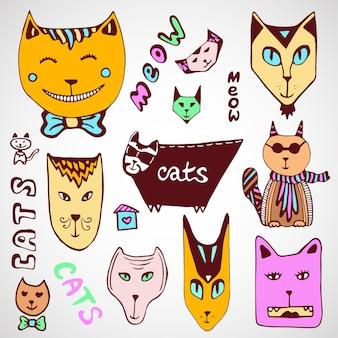 Collezione di gatti doodle. pagina di colorazione disegnata a mano. arte vettoriale.