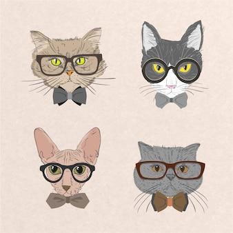 Collezione di gatti hipster