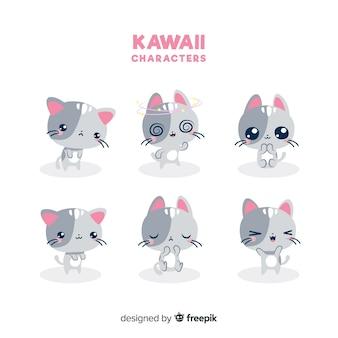 Collezione di gatti kawaii disegnati a mano