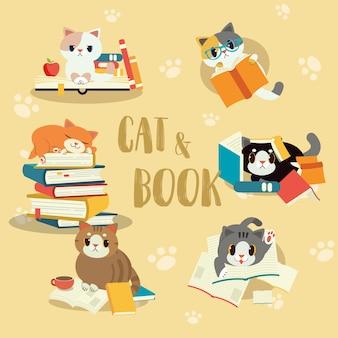 Collezione di gatto con un set di libri