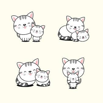 Collezione di gatto e gatto bambino.