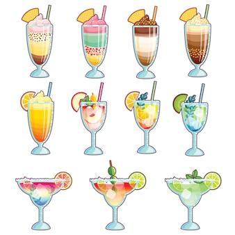 Collezione di gelati, cocktail e frullati