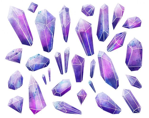 Collezione di gemme galaxy, cristalli ad acquerelli bagnati, disegnati a mano