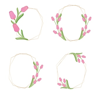 Collezione di ghirlanda di fiori di tulipano rosa dorato
