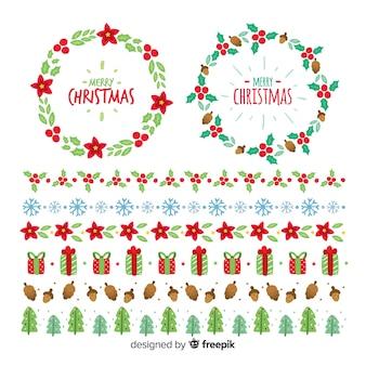 Collezione di ghirlande e bordi natalizi