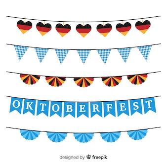 Collezione di ghirlande oktoberfest dal design piatto