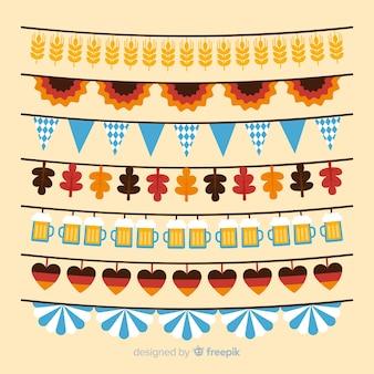 Collezione di ghirlande piatte più oktoberfest