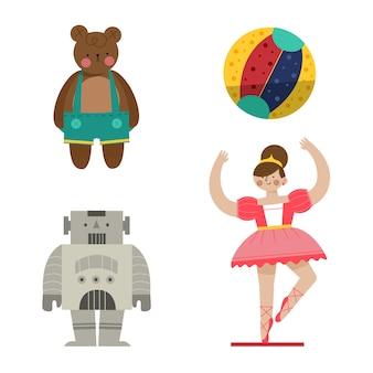 Collezione di giocattoli di natale design piatto