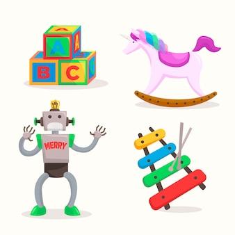 Collezione di giocattoli di natale disegnati a mano