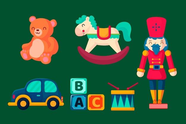 Collezione di giocattoli di natale in design piatto