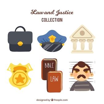 Collezione di giurisprudenza e giustizia con stile divertente