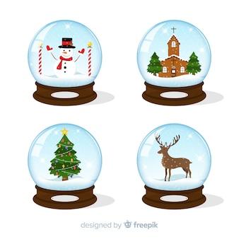 Collezione di globi di palle di neve di natale