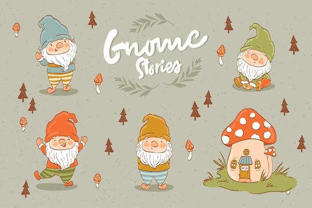 Collezione di gnomi o nani simpatico cartone animato