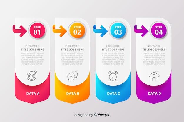 Collezione di gradini infografica gradiente