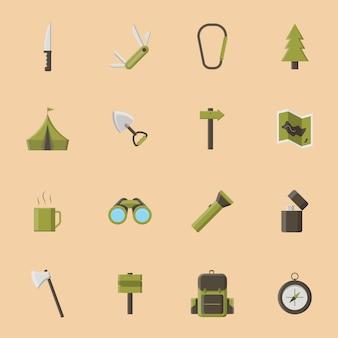 Collezione di icone campeggio