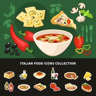 Collezione di icone cibo italiano