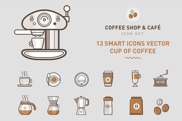 Collezione di icone coffee shop
