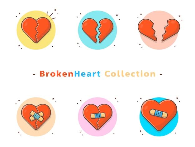 Collezione di icone cuore spezzato