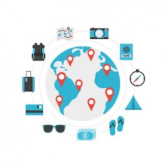 Collezione di icone da viaggio