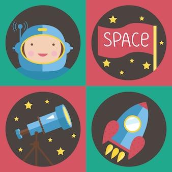 Collezione di icone dei cartoni animati spazio