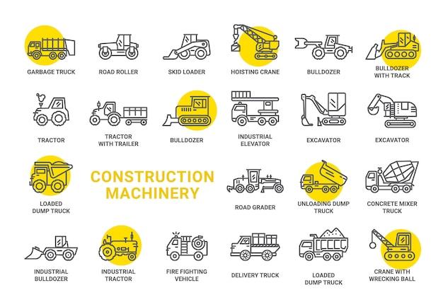 Collezione di icone del macchinario di costruzione