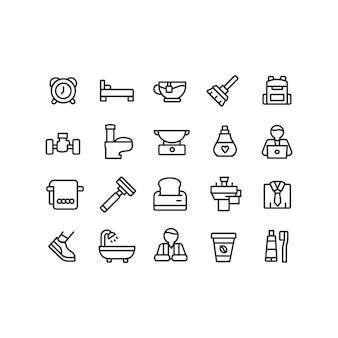 Collezione di icone del mattino in stile lineare