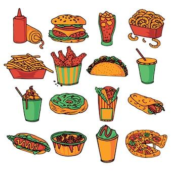 Collezione di icone del menu ristorante fast food