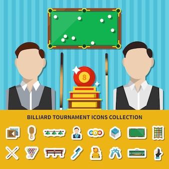 Collezione di icone del torneo di biliardo